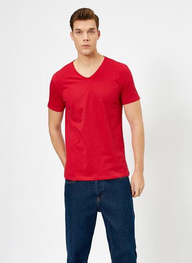 Koton V Yaka %100 Pamuk Slim Fit Basic T-Shirt Kırmızı